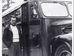 Peter Brega with his first brand new bus - 1949